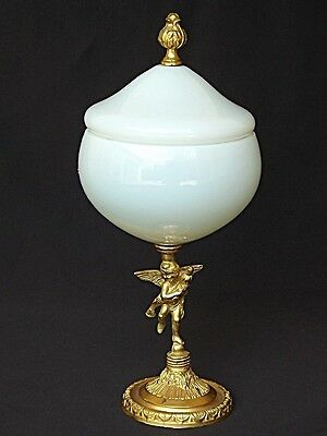 French White Opaline Gilt Box Angel Foot Stand
