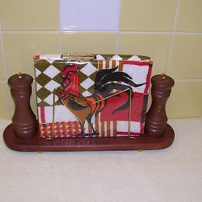NIB CherryWood Napkin Holder w/ 2 Rooster Terry Towels, Salt & Pepper Shakers