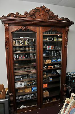 Hand carved solid walnut Victorian secretary top / bookcase