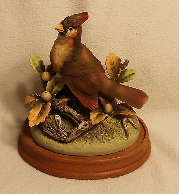Cardinal by Andrea Figurine on Wooden Base Andrea by Sadek Larger Bird