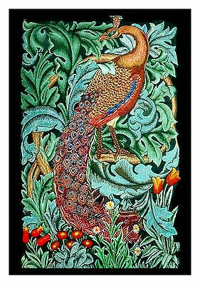 Morris Green Acanthus Peacock Counted Cross Stitch Chart by Orenco Originals