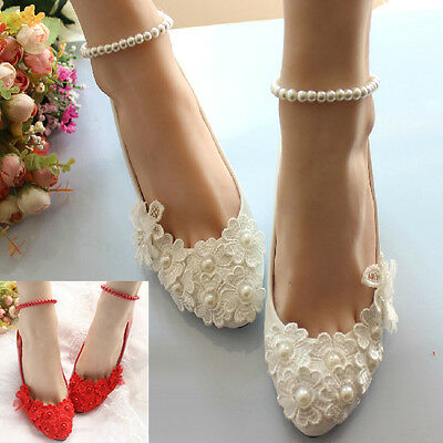 Elegant Lace Flower Handmade Pearl Chain High Heels Party Wedding Bridal Shoes