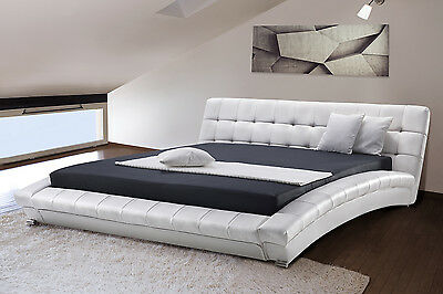 5 ft 2-inch bed, frame, king size, including slats, leather white