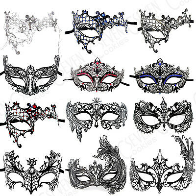 UK Black Filigree Venetian Masquerade Metal Mask Ball Fancy Dress Party Outfit