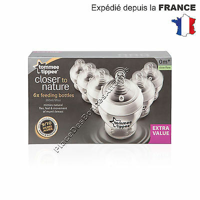 Biberon de 260ml Tommee Tippee Lot de 6  Débit Lent 0m+