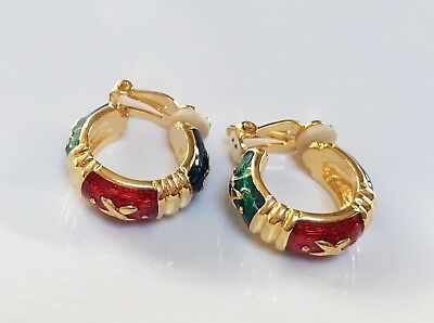 Joan Rivers Comfort Clip Hugs And Kisses Earrings Colorful Enamel 18Kg Plated