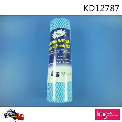 50 Sheets Dark Blue Non Woven Wipes Roll 30 x 32cm Multi Purpose Use KD12787 AU