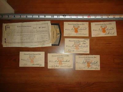 BW119 Vintage 1940's Paper LOT Natrona County Game & Fishing Licenses