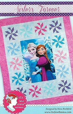 """Disney_Frozen_Sisters Forever_quilt_pattern_60 1/2"""" x 72 1/2""""_FREE US SHIP"""