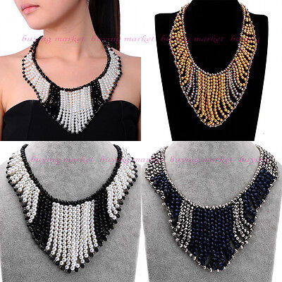 New Fashion Resin Pearl Crystal Bead Layer Cluster Choker Statement Bib Necklace