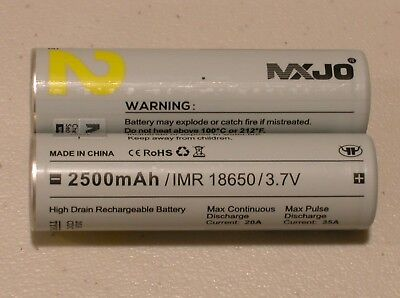 2 pc MXJO IMR 18650 Li-MN BATTERY HIGH DRAIN RECHARGEABLE 3.7v 2500mAh 35A YEL.