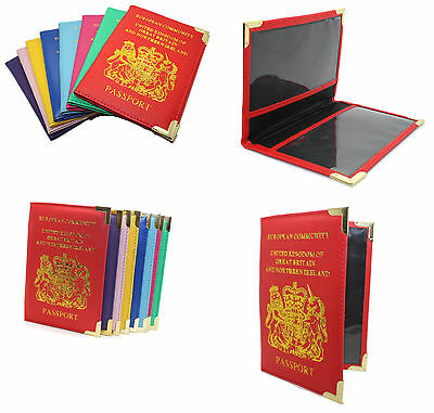 New Authentic UK & European Travel PU Leather Passport Protector Cover Holder