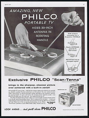 1957 Philco TV Portable Television Rotating Handle Ad