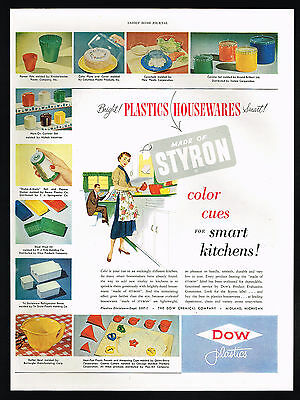 1950 Dow Plastic Housewares Cake Plate Boxes Bowl Canister Magazine Print Ad