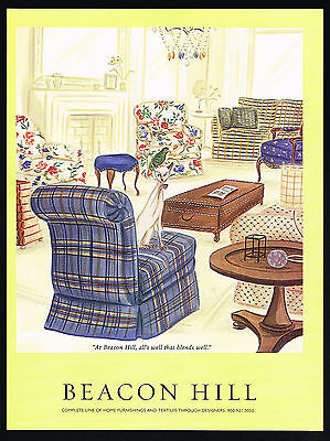 2001 Beacon Hill Textiles Home Furnishing Blend Well Siamese Cat Print Ad
