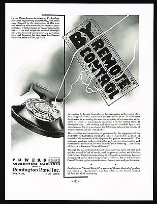 1934 Remington Rand Punched Cards Automatic Dial Telephone Massachusetts Ad
