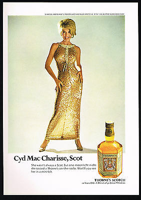 1968 Thornes Scotch Blonde Hollywood Actress Cyd Charisse Photo Vintage Print Ad