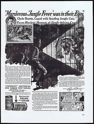 1938 Clyde Beatty Lion Circus Eveready Battery Print Ad