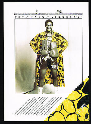 1987 Boxer Gary Logan Boxing Robe Trunks Liberty Jacquard Silk Print Ad
