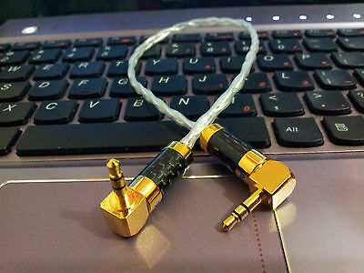 1 Feet OCC Copper Silver Plated HI-END Stereo 3.5mm- 3.5mm Male To Male  Carbon