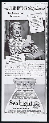 1949 Sealright Milk Bottle Hoods Actress June Havoc Print Ad