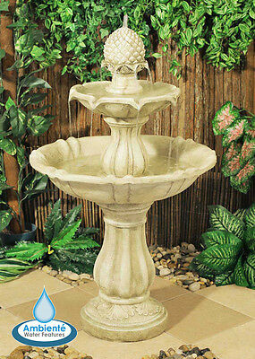 3 Level Water Fountain Feature Cascade Classical White Ivory Stone Effect Garden