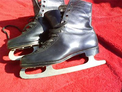 Gents black leather ice skates UK 8 with John Wilson Sheffield Kangaroo blades