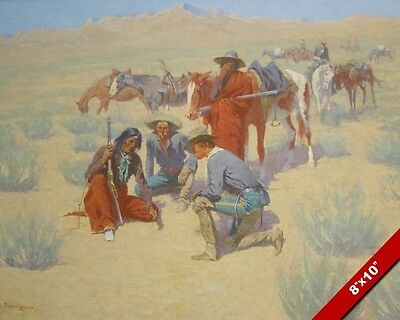 Cowboys & Native Americans Indians Remington Oil Painting Art Print On Canvas