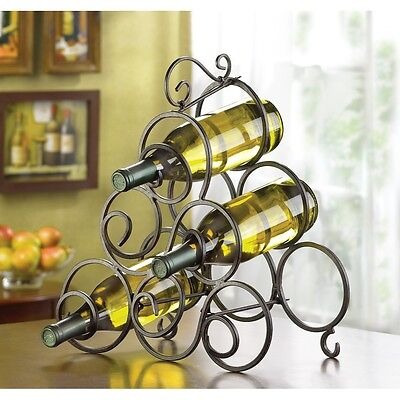 Scrollwork Wrought Iron Wine Storage Tabletop Bar Display Rack 6 Bottle Holder
