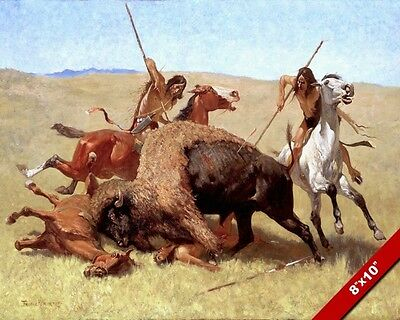 The Buffalo Hunt Native American Indian Oil Painting Art Print On Real Canvas