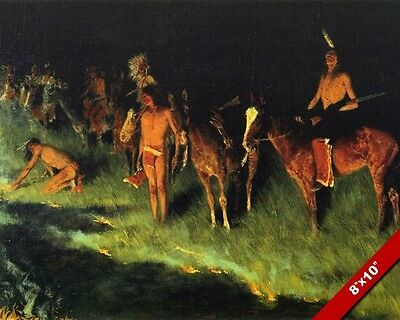 Native American Indians At Night Western Remington Art Oil Painting Canvas Print