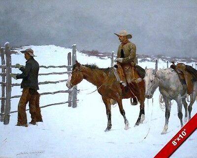 Cowboy & Horses Winter Scene Remington Art Oil Painting Print On Real Canvas