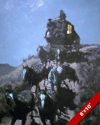 Stagecoach Of The American West Remington Art Oil Painting Print On Real Canvas