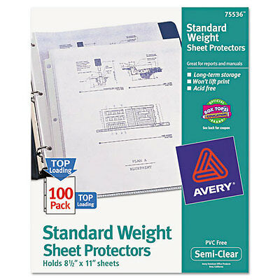 100 Avery Top-Load Polypropylene Sheet Protector Letter
