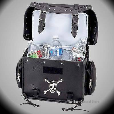 Motorcycle Bike Trunk Cooler Bag with Skull and Crossbones Medallion and Studs