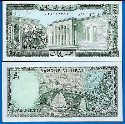 Lebanon  P-62 5 Livres Year 1964-1986 Uncirculated Banknote Asia