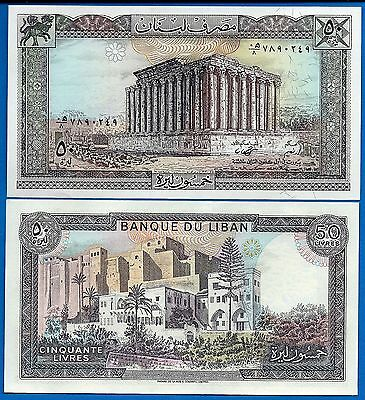 Lebanon P-65 Fifty Livres Year 1964-1988 FREE SHIPPING