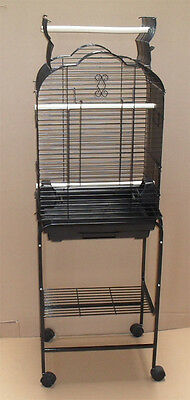 New Open Play Top Small Parrot Cockatiel  Bird Cage W/Stand Black 1718_T808-026