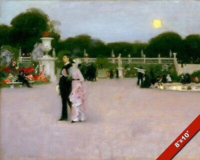 Dusk & Moonlight In The Luxembourg Gardens Oil Painting Art Print On Real Canvas