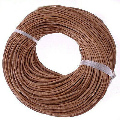 100% Genuine Real Leather Thong Cord 1/1.5/2mm 3mm Jewelry DIY 5M 10M 50M Brown