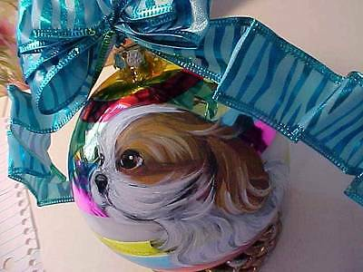 Cavalier King Charles Puppy Handpainted Christmas Ornament
