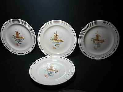 "Universal Potteries Windmill Pattern, 4 Plates 7 1/4"" Cambridge Ohio Made in USA"