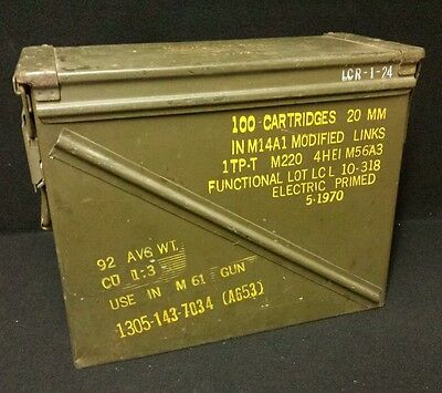 Vietnam Large 20 MM Military ARMY Ammunition Ammo Case Box for M61 - 100 Rounds