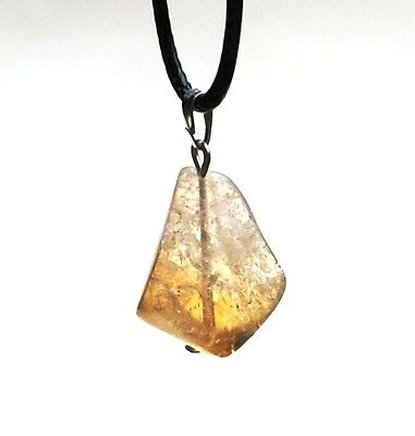 Reiki Healing Energy Charged Polished Citrine Crystal Stone Pendant