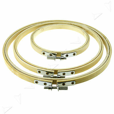 Set of 4,6,& 8 inch Round Bamboo Hoops/Rings For Embroidery Cross Stitch Sewing