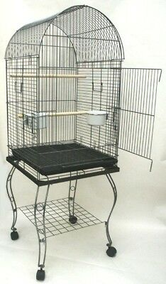 Parrot Bird Cage Cages Dome Top  W/Stand 20x20x57 0103-632