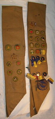 2 Boy Scout sashes w/ badges, patches + 7 celluloid pins from 1926 NY Pow-Wow