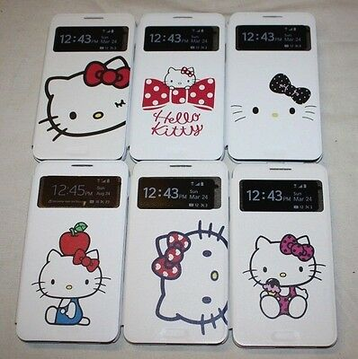 FOR SAMSUNG GALAXY NOTE 3 HELLO KITTY LEATHER WALLET SMART VIEW CARD CASE