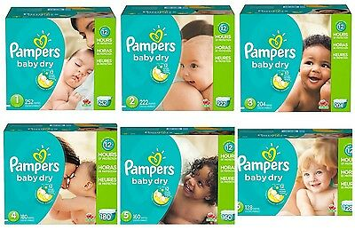 Pampers Baby Dry Diapers Size 1-6, Select Size New