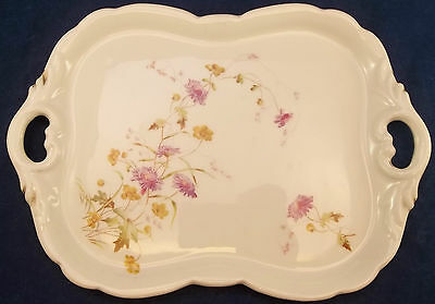 Adorable Small Vintage Vanity Tray Dish Purple Wild Flowers Gold Porcelain